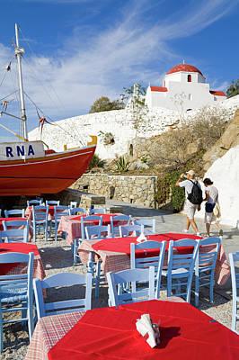 Mykonos Photograph - Restaurant In Mykonos Town by Richard Cummins
