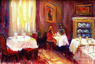 Painting - Restaurant Interior Table For Two Romantic Dinner Carole Spandau by Carole Spandau