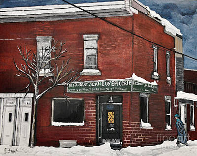 Montreal Restaurants Painting - Restaurant Jean Guy  Pte. St. Charles by Reb Frost