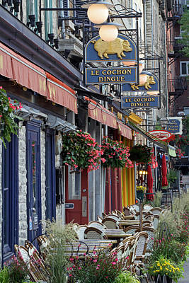 Travel Pics Royalty-Free and Rights-Managed Images - Restaurant Le Cochon Dingue in the Old Port of Quebec City by Juergen Roth