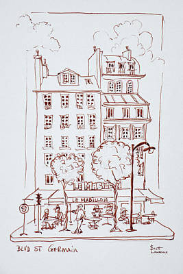 Restaurant On Boulevard Saint-germain Art Print