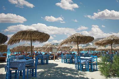 Palapas Wall Art - Photograph - Restaurant On The Beach, Mykonos by Ed Freeman