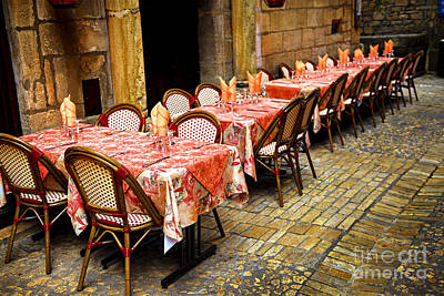 Napkin Photograph - Restaurant Patio In France by Elena Elisseeva