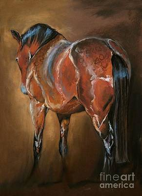 Horse Pastels Painting - Resting At The Barn by Dorota Kudyba
