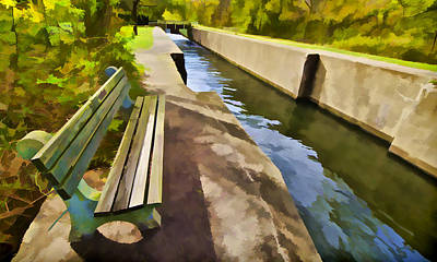 Painting - Resting Bench On The Canal by David Letts