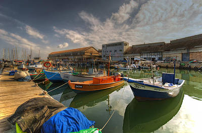 resting boats at the Jaffa port Art Print