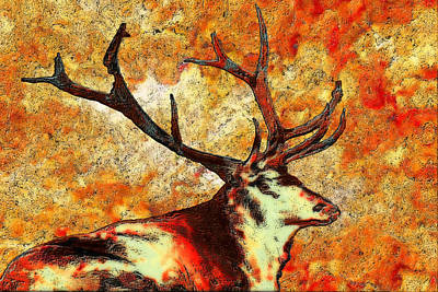 Abstract Digital Photograph - Resting Elk by Jack Zulli