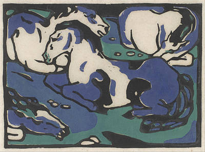 Franz Marc Drawing - Resting Horses by Franz Marc