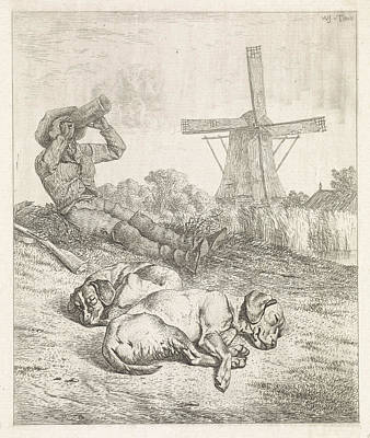 Resting Hunter With Sleeping Dogs, Wouter Johannes Van Art Print by Wouter Johannes Van Troostwijk