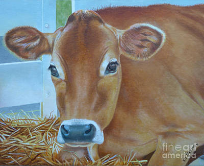Art Print featuring the painting Resting Jersey Mom by K L Kingston