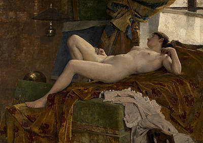 Durst Painting - Resting Model by Auguste Durst