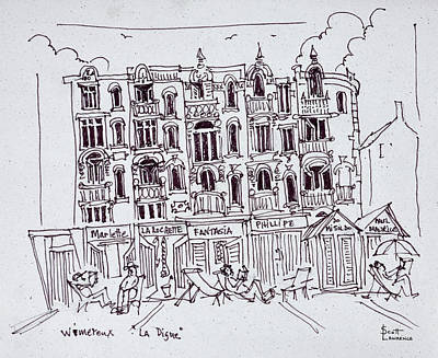 Pen And Ink Drawing Photograph - Resting On The Boardwalk, Wimereux by Richard Lawrence