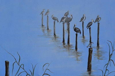 Painting - Resting Pelicans by Jorge Parellada