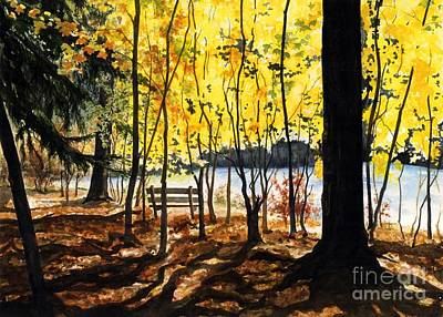 Rivers In The Fall Painting - Resting Place by Barbara Jewell