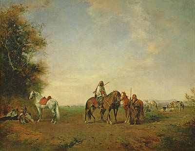 Orientalists Photograph - Resting Place Of The Arab Horsemen On The Plain, 1870 by Eugene Fromentin