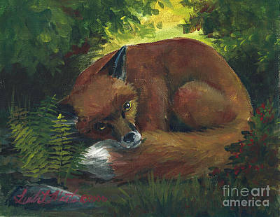 Painting - Resting Red Fox by Linda L Martin