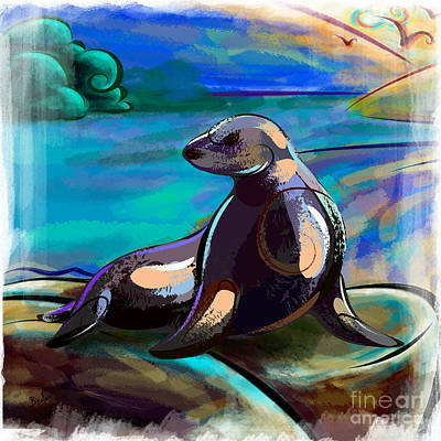 Pup Mixed Media - Resting Seal by Bedros Awak
