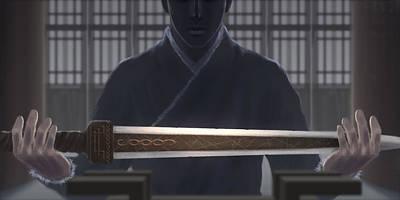 Resting Sword Art Print by Hiroshi Shih