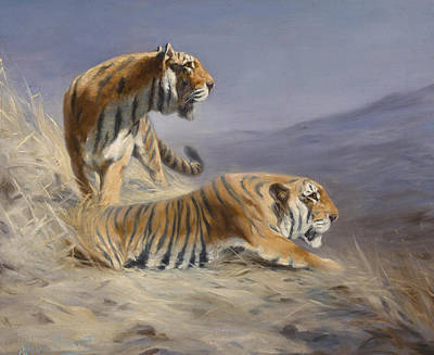 Large Cats Painting - Resting Tigers by Lilian Cheviot