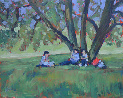 Maastricht Painting - Resting Under The Tree Nearby Fort Sint Pieter Maastricht by Nop Briex
