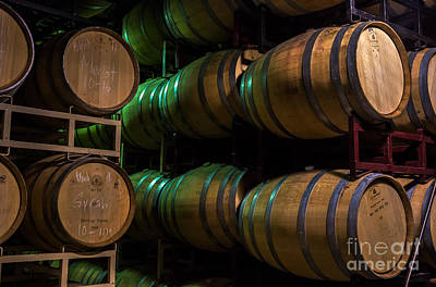 Wine Royalty-Free and Rights-Managed Images - Resting Wine Barrels by Iris Richardson