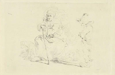 Weeping Drawing - Resting Woman Leaning On A Stick, Print Maker Jean Zacherie by Jean Zacherie Mazel