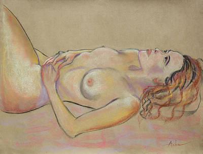 Resting Woman Looking Upward And Inward Art Print by Asha Carolyn Young