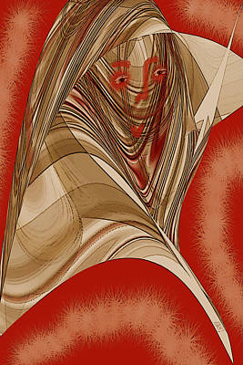 Shawl Digital Art - Resting Woman - Portrait In Red by Ben and Raisa Gertsberg