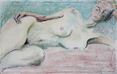 Pastel - Restive Woman Dreaming by Asha Carolyn Young