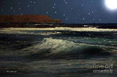 Sea Moon Full Moon Painting - Restless Sea by RC deWinter