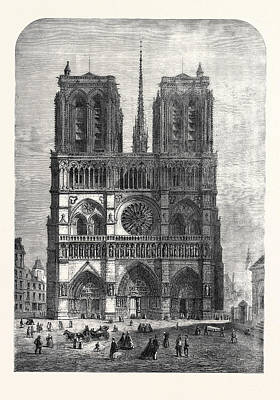 Restoration Drawing - Restoration Of Notre Dame Paris The Western Facade 1862 by English School
