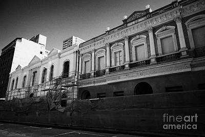 restoration of old colonial buildings damaged by earthquake compania de jesus Santiago Chile Art Print by Joe Fox