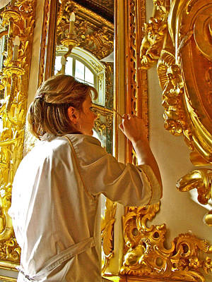 Catherine Palace In Russia Photograph - Restoration Worker In Catherine's Palace In Pushkin-russia by Ruth Hager