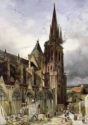 Restoring The Abbey Church Of St. Denis In 1833 Oil On Canvas Art Print by Adrien Dauzats