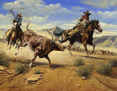 Lassoing Painting - Restraint 2 Cowboys Roping A Steer by Don  Langeneckert