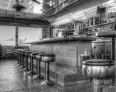 Stools And Counter Photograph - Restrooms In Black And White by Louise Reeves