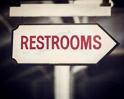 Restrooms Sign At Saratoga Race Course Art Print by Lisa Russo