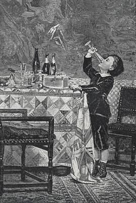 Table Wine Photograph - Rests Of The Feast. 1885. Engraving - � by Everett