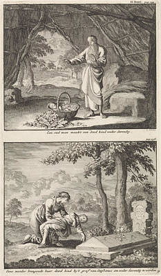 Resurrection Drawing - Resurrection Of A Dead Child And A Woman Bringing Her Dead by Jan Luyken And Jacobus Van Hardenberg And Barent Visscher