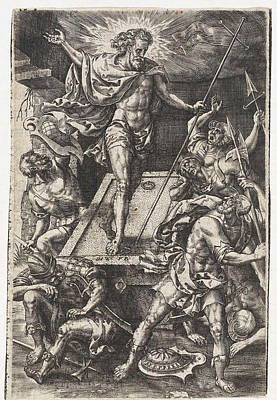 Resurrection Drawing - Resurrection Of Christ, Print Maker Johannes Wierix by Johannes Wierix And Pieter Van Der Borcht I
