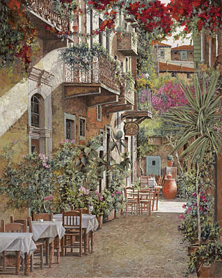Dinner Painting - Rethimnon-crete-greece by Guido Borelli