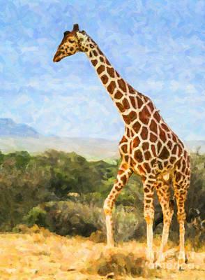 Buffalo Digital Art - Reticulated Giraffe Kenya by Liz Leyden