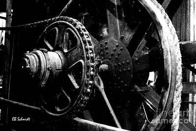 Photograph - Retired Machines 06 - Sprocket And Pulley by E B Schmidt
