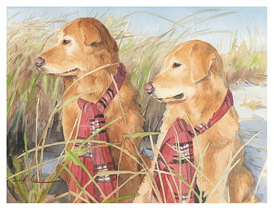 Retrievers In Dunes Watercolor Portrait Art Print by Mike Theuer