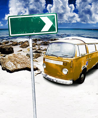 Directional Signage Photograph - Retro Beach Van by Jorgo Photography - Wall Art Gallery