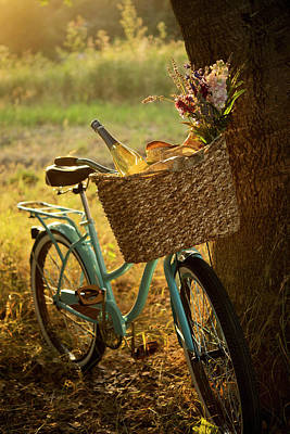 Photograph - Retro Bicycle With Wine In Picnic by Nightanddayimages