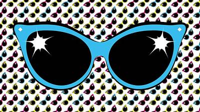 Digital Art - Retro Blue Cat Sunglasses by MM Anderson