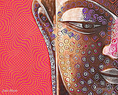 Retro Buddha Art Print by Julie  Hoyle