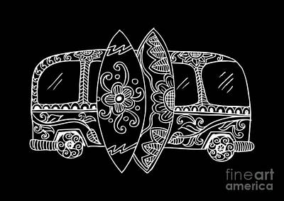 Bus Wall Art - Digital Art - Retro Bus With Surf Boards In Zentangle by Handini atmodiwiryo