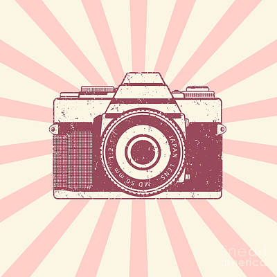 Vintage Camera Digital Art - Retro Camera, Vintage Design, Vector by Nexusby